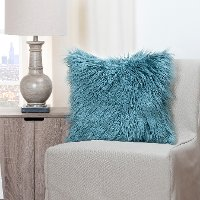 Llama Teal Throw Pillow with Soft Fleece Teal On Reverse Side