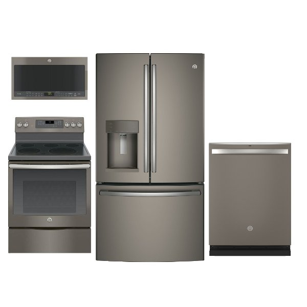 KIT GE 4 Piece Kitchen Appliance Package With Electric Range   Slate