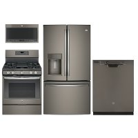 KIT GE 4 Piece Gas Kitchen Appliance Package with 27.8 cu. ft. Refrigerator - Slate