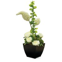 29 Inch White Rose Trumpet Peony Arrangement