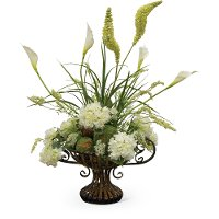 46 Inch White Floral Arrangement In Urn