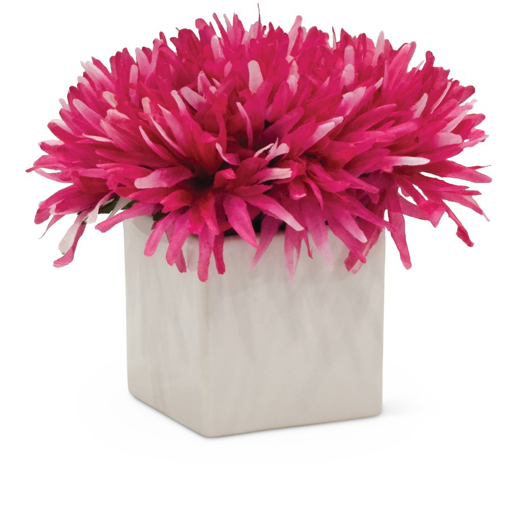7 Inch Pink Flower Arrangement In White Cube Rc Willey Furniture Store