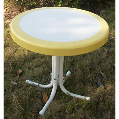 71120 Yellow Round Table   Retro Metal