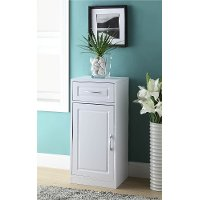 76425 White Bathroom 1 Door and 1 Drawer Cabinet
