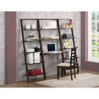 89805 Cappuccino Brown Desk and Wall Bookcases - Arlington