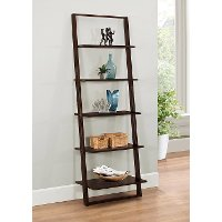 89835 Cappuccino Brown Wall Ladder Bookcase - Arlington