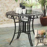 123780 Metal Outdoor Patio Multi-Use Round Table - Ivy League