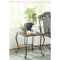 126971 Metal Outdoor Patio End Table - Ivy League