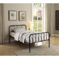 121472 Modern Black Twin Metal Bed