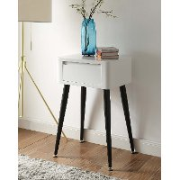 Black and White Glossy End Table - Phoebe