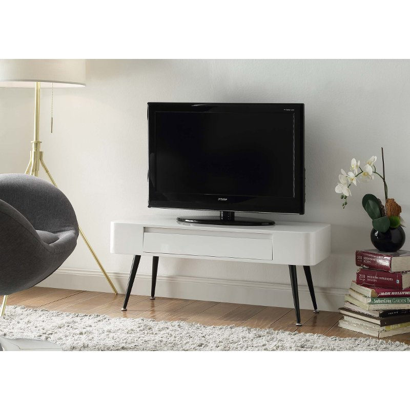 Black And White Retro 40 Inch Tv Stand Phoebe Rc Willey Furniture