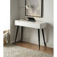124904 Black and White Glossy Desk - Phoebe