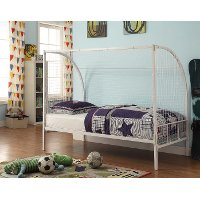154663 Soccer Goal White Twin Metal Bed - Boltzero