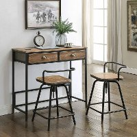 Distressed Pine and Metal 3 Piece Counter Height Breakfast Set - Urban Loft