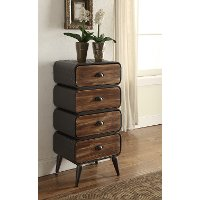 162016 Modern Industrial Metal and Pine 4-Drawer Chest - Urban Loft