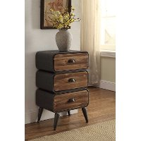 162017 Modern Industrial Metal & Pine 3-Drawer Chest - Urban Loft