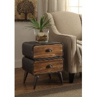 162018 Modern Industrial Metal & Pine 2-Drawer Chest - Urban Loft