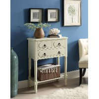550497 Buttermilk White 3 Drawer Living Room Chest - Simplicity