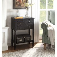 550997 Black 3 Drawer Living Room Chest - Simplicity