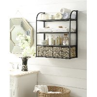 603120 Black Metal Wall Storage Unit with 2 Baskets - Windsor