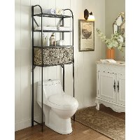 603121 Black Metal Storage Space Saver with 2 Woven Baskets