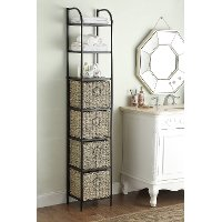 603124 Black Powder Coated Bookcase with 4 Woven Baskets