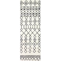S185-IVBK-2.6X8-ST258 Ivory and Black 8 Foot Runner Rug - Chelsea