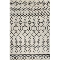 8 x 10 Large Ivory and Black Area Rug - Chelsea