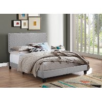 Contemporary Smoke Gray Queen Upholstered Bed - Erin