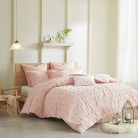 Pink Twin 5 Piece Brooklyn Cotton Jacquard Duvet Bedding Collection