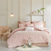 Pink Queen 7 Piece Brooklyn Cotton Jacquard Duvet Bedding Collection