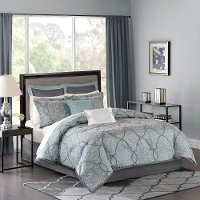 Seafoam Lavine Queen 12 Piece Jacquard Duvet Bedding Collection