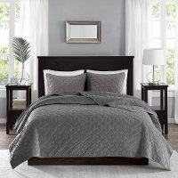 Harper Gray Velvet King 3 Piece Coverlet Bedding Collection