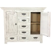 Rustic White Dresser with Lift-Top Gun Storage - Mansion