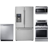 KIT Samsung 4 Piece Kitchen Appliance Package with Gas Range with True Convection Oven - Stainless Steel