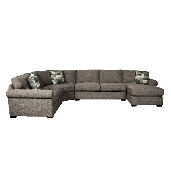 Brown 4 Piece Sectional Sofa With RAF Chaise   Orion