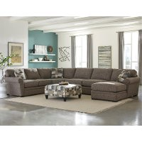 Brown 4 Piece Sectional Sofa With Raf Chaise Orion Rc