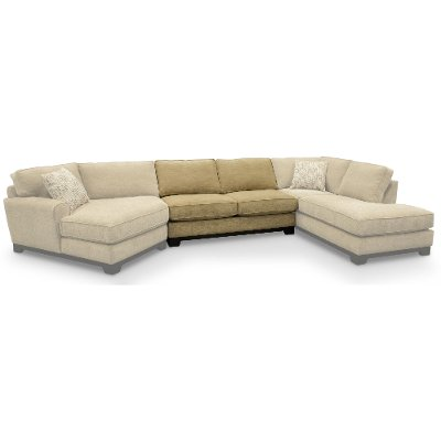 Casual Contemporary Beige Armless Loveseat - Pisces