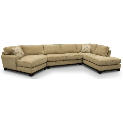 Casual Contemporary Beige 3 Piece Sectional Sofa   Pisces