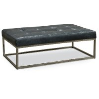 Modern Granite Gray Leather Cocktail Ottoman - Xander