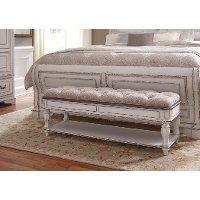 Antique White Traditional Upholstered Bed Bench - Magnolia Manor