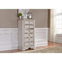 Traditional Antique White Lingerie Chest - Magnolia Manor