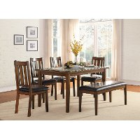 Dark Cherry 6 Piece Dining Set - Del Mar