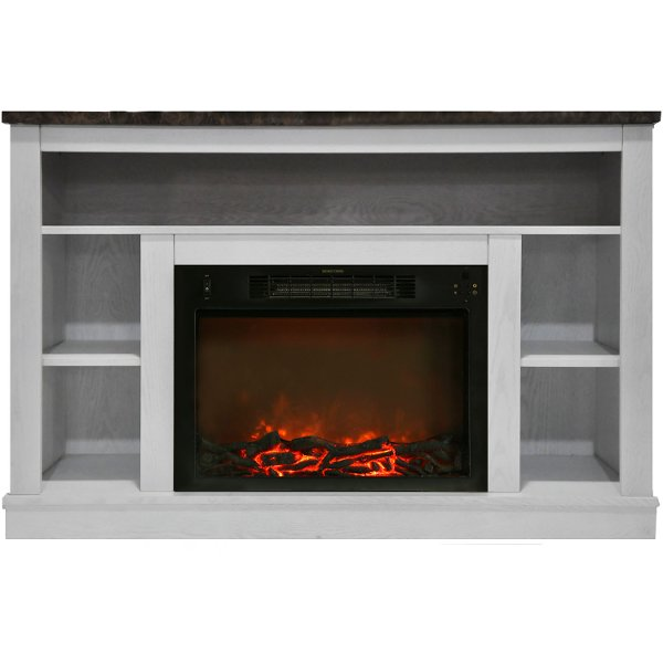 Cam5021 1wht White Electric Fireplace With Mantel 47 Inch Seville