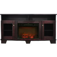 CAM6022-1MAH Mahogany Brown Wooden 60 Inch Fireplace TV Stand - Savona