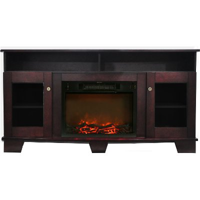 Mahogany TV Stand and Electrical Fireplace (59 Inch) - Savona | RC ...