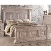 Rustic Traditional Cream Queen Bed - Santa Fe