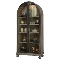 2-Tone Aged Gray and Charcoal Arch Top Curio Cabinet - Naomi