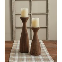 12 Inch Wood Pillar Candle Holder - Brody