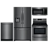 KIT Frigidaire 4 Piece Kitchen Appliance Package with Electric Range with 5 burners - Black Stainless Steel